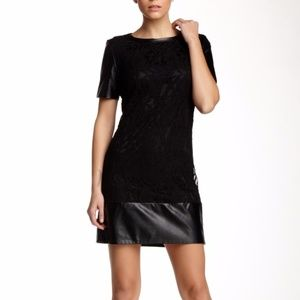 NEW LAUNDRY SHELLI SEGAL Faux Leather Lace Dress 6